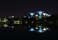 Nightscop del giardino dalla baia a Singapore Fotografie Stock Libere da Diritti