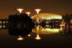 Nightscop des Gartens durch die Bucht in Singapur Lizenzfreie Stockbilder