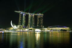 Nightscop of marina bay sands. Hotel and art science museum Royalty Free Stock Photography