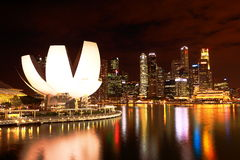 Night of singapore city skyline Royalty Free Stock Photos