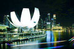 Nightscop of marina bay in singapore. Nightscop of marina bay and singapore river. shot at double helix bridge Royalty Free Stock Images
