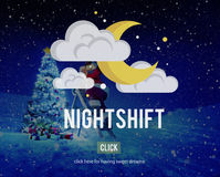 Nightshift Business Evening Hours Overtime Concept Royalty Free Stock Images
