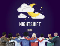 Nightshift Business Laptop People Time Work Concept Royalty Free Stock Images