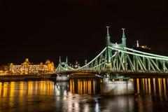 Nightshot at bridge on Danube river Royalty Free Stock Photography
