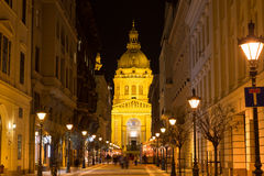 Nightshot on Budapest city streets Stock Images