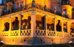 Nightshot of castle corridor Stock Images
