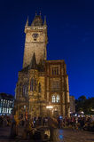 Nightshot di municipio (Rathaus) di Praga in repubblica Ceca Immagine Stock Libera da Diritti