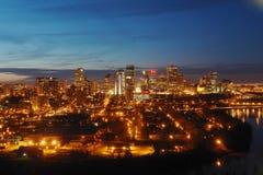Nightshot du centre d'Edmonton Photos stock