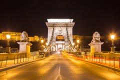 Nightshot on empty Szechenyi bridge Stock Photos