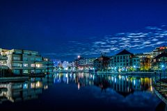 Nightshot of the Humboldt harbour in Berlin Tegel stock photo