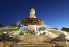 Nightshot of La Rotonde fountain Stock Photos