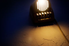 Nightshot of an old bedside lamp Royalty Free Stock Photos
