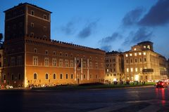 Nightshot of Piazza Venezia in Rome, Italy. The central hub of Piazza Venezia in Rome, Italy In the square several thoroughfares intersect, including the Via dei royalty free stock images