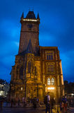 Nightshot of Prague Town Hall (Rathaus) Royalty Free Stock Image