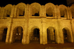 Nightshot of the roman Arena Stock Images
