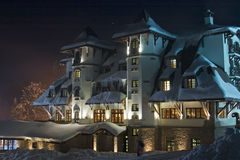 Nightshot of ski-resort hotel. Nightshot of snow-covered ski-resort hotel Termag, Jahorina, Republika Srpska, Sarajevo, Bosnia and Herzegovina Royalty Free Stock Image