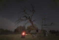 Nightshot sul cimitero Immagine Stock