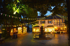 Nightshot. TECKLENBURG, GERMANY - AUGUST 2013: Square in the center of historical town tecklenburg, Nordrhein-Westfalen, Germany Royalty Free Stock Image