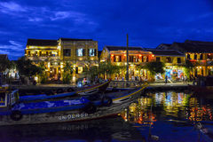 Nightshot of the Thu Bòn River in Hoi An, Vietnam Royalty Free Stock Photography