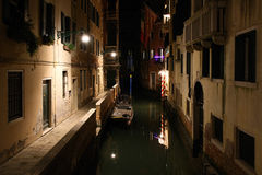 Nightshot of Venice with its canals and alleys in winter, Italy Royalty Free Stock Photography