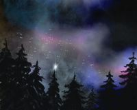 Nightsky with galaxy and forest. Watercolor background with galaxy and forest, stars and milky way, background for poster and fantasy landscapes Stock Photo