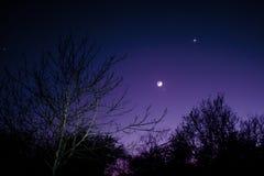 Nightsky met Maan, Venus en Aldebaran Royalty-vrije Stock Foto's