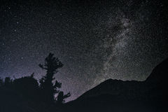 Nightsky in the Sierra Nevada Mountains. Mountain landscape in the Sierra Nevada mountains, California Royalty Free Stock Images