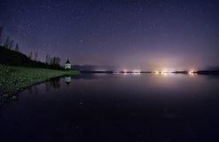 Nightsky with stars and lake. Beautiful nightsky with stars over lake Liptovska mara, Slovakia Stock Photos