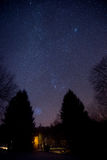 Nightsky. Stars over head in the mountains. Relax at weekend house in the winter Royalty Free Stock Photography