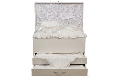 Nightstand. Detail of elegant cozy white bedroom nightstand with white bedclothes in it Stock Images