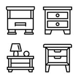 Nightstand icons set, outline style royalty free illustration