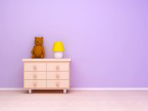 Nightstand with lamp and teddy bear vector illustration