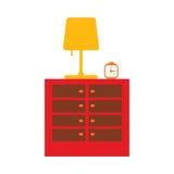 Nightstand plano con la lámpara stock de ilustración