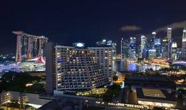 Nighttime в Сингапуре Стоковое фото RF
