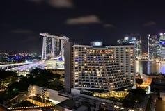 Nighttime в Сингапуре Стоковые Изображения