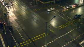 Nighttime привел перекресток соединения акции видеоматериалы