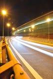 Nighttime снятый с светами шины Стоковые Изображения