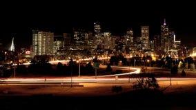Nighttime-упущение Денвера сток-видео