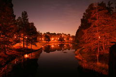Nighttime Canal. A view of a canal at nighttime Royalty Free Stock Image