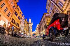 Nighttime at Celetna street, leading to Prasna brana Powder Tower in Prague, Czech Republic Stock Photo