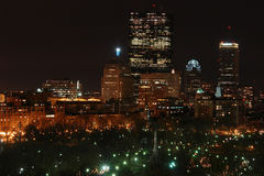 Nighttime in the city. Bird's eye view of the boston skyline at night in the winter Royalty Free Stock Photography