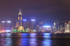 Nighttime city view of the Hong Kong Island Stock Photos