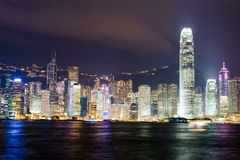 Nighttime city view of the Hong Kong Island Stock Photography