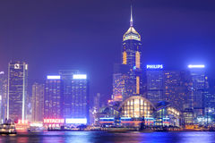 Nighttime city view of the Hong Kong Island Royalty Free Stock Photos