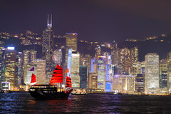 Nighttime city view of the Hong Kong Island Royalty Free Stock Photography