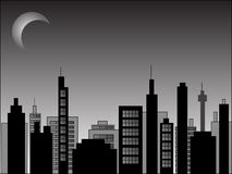 Nighttime cityscape. Illustration of a nightime cityscape scene Stock Photos