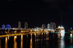 Nighttime cityscape skyline view of downtown Miami City royalty free stock photography