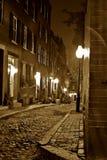 Nighttime do Sepia em Boston Imagens de Stock Royalty Free