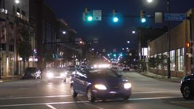 Night Establishing Shot Traffic on East Carson Street in Pittsburgh stock video footage