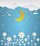 Nighttime with flowers and winter background Stock Photos